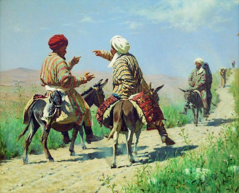 Верещагин-Мулла Керим и мулла Рахим по дороге на базар ссорятся.jpg